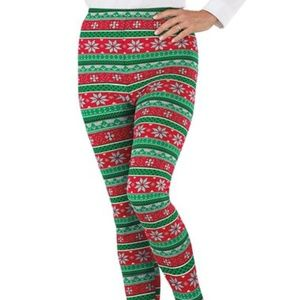 Christmas green and red snowflake leggings 2x